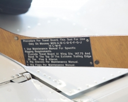 Mooney Travel Board. Tool for rigging the flight controls of Mooney Aircraft. --- Mooney M20F IMG_1057