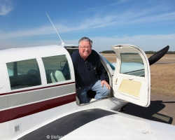 Mooney Maintenance Expert Don Maxwell leaving Mooney M20 F N6377Q after a test-flight to check the correct rigging of the flight control surfaces. Mooney M20F IMG_1081