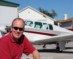 Stefan Buntenbach with Mooney M20F N6377Q in Spruce Creek, Florida. Mooney M20 IMG_6849fl2010