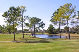 Blick auf den Golfplatz in der Spruce Creek Fly In Community in Florida