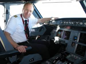 Stefan Buntenbach im Airbus Cockpit