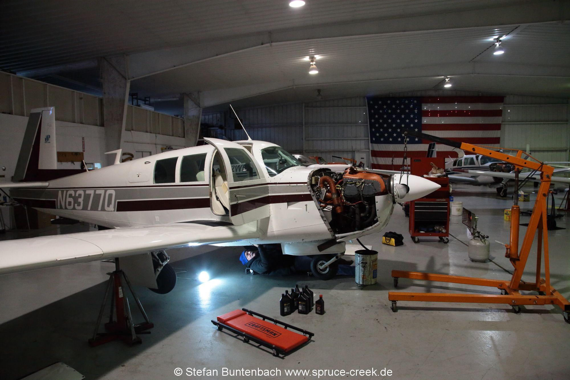 Mooney service for M20F N6377Q done at Don Maxwell Aviation in Longview, in Texas. --- Mooney M20F IMG_1024