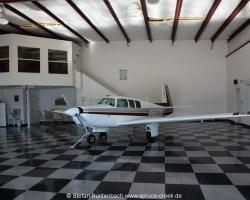 Mooney M20 F, N6377Q, resting in a very nice hangar in the Spruce Creek Fly in Community near Daytona Beach in Florida. --- Mooney M20F IMG_1541